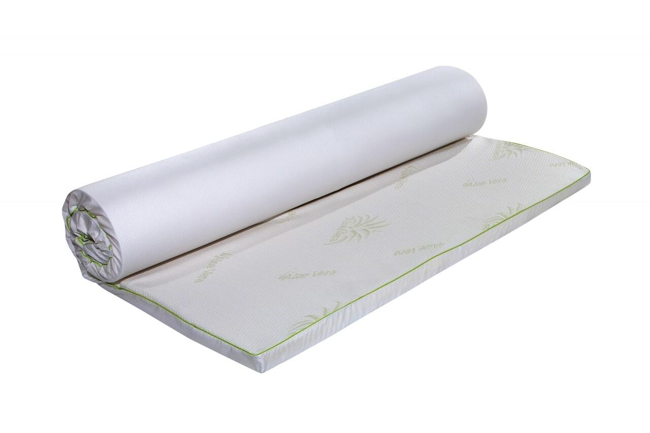 Topper saltea Aloe Vera Therapy Memory Arctic Gel 7 zone de confort, Green Future, 160x200 cm