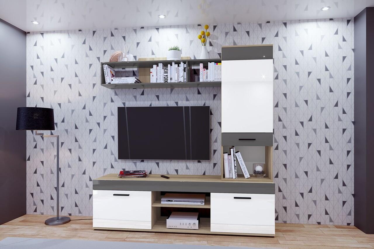 Mobilier living, Bedora, City 9045, 180 x 46 x 185.5 cm, PAL, sonoma/alb