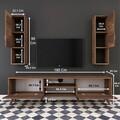 Comoda TV cu 2 cabinete M28 - 286, Wren, 180 x 35 x 48.6 cm/90 cm, walnut