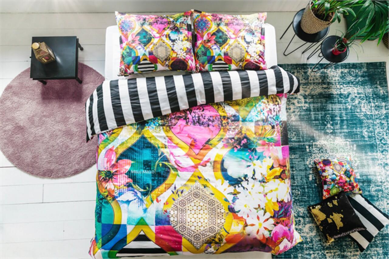 Lenjerie de pat pentru doua persoane Rikka Multi, Melli Mello,100% bumbac satinat