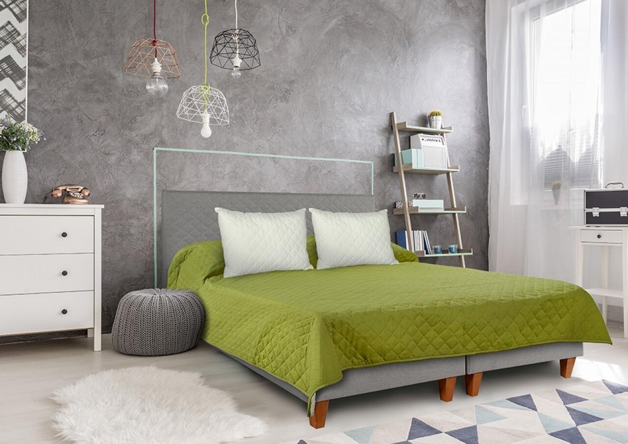 Cuvertura matlasata Alcam,  Double Face Olive 210 x 220 cm