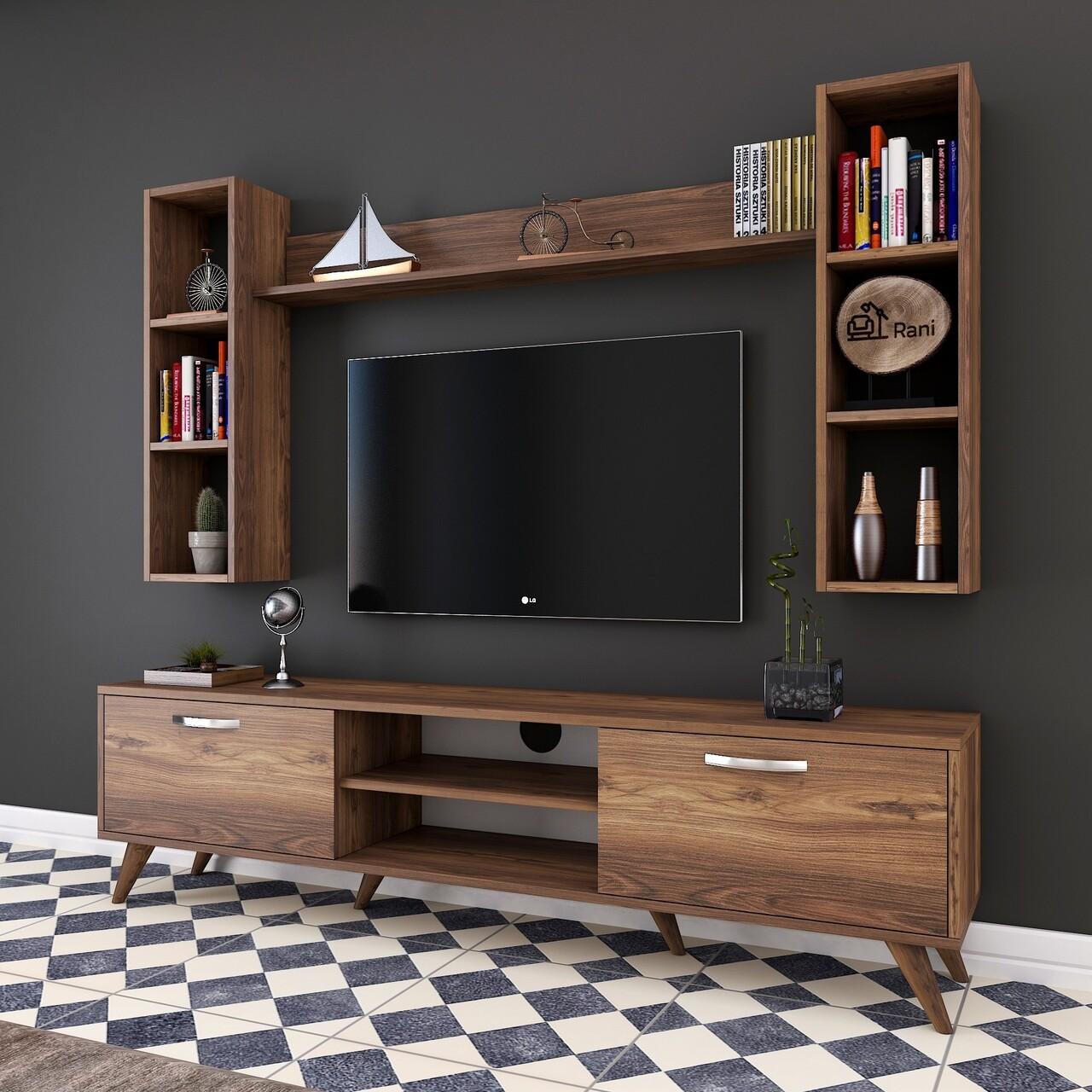 Comoda TV cu 3 rafturi de perete M5 - 240, Wren, 180 x 35 x 48.6 cm/90 cm/133 cm, walnut