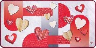 Covor pentru bucatarie, Olivio Tappeti, Miami 3, Red Hearts, 50 x 100 cm, poliester, multicolor