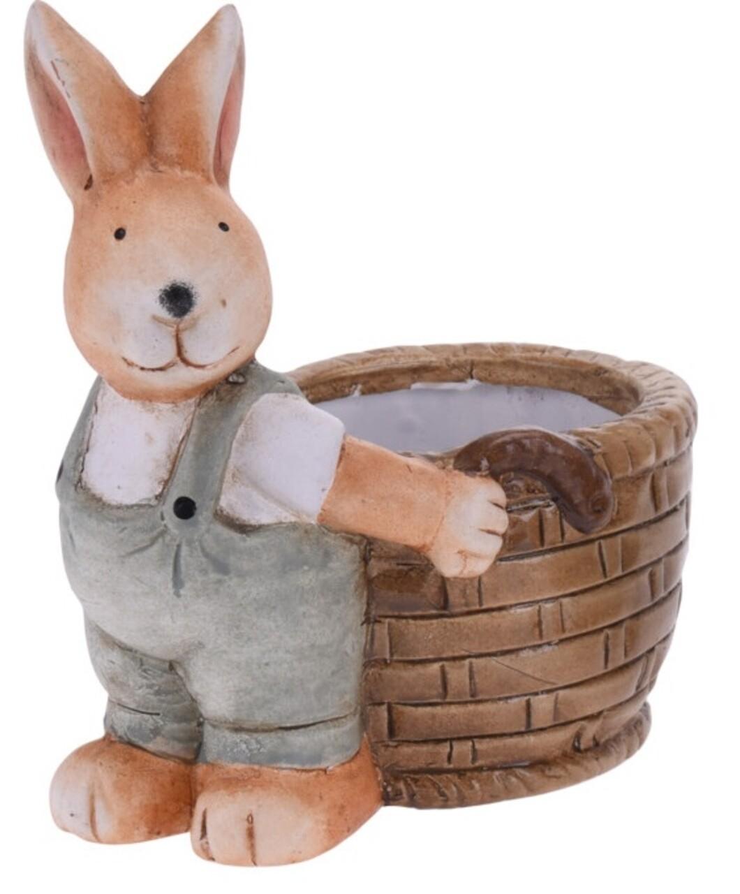 Decoratiune de paste Boy bunny with basket, 13x8.5x15.5 cm, teracota, gri