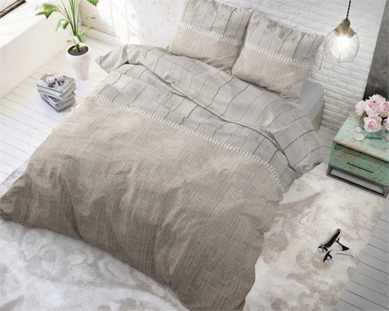 Lenjerie de pat pentru doua persoane Wood Fabric Taupe, Royal Textile,100% bumbac