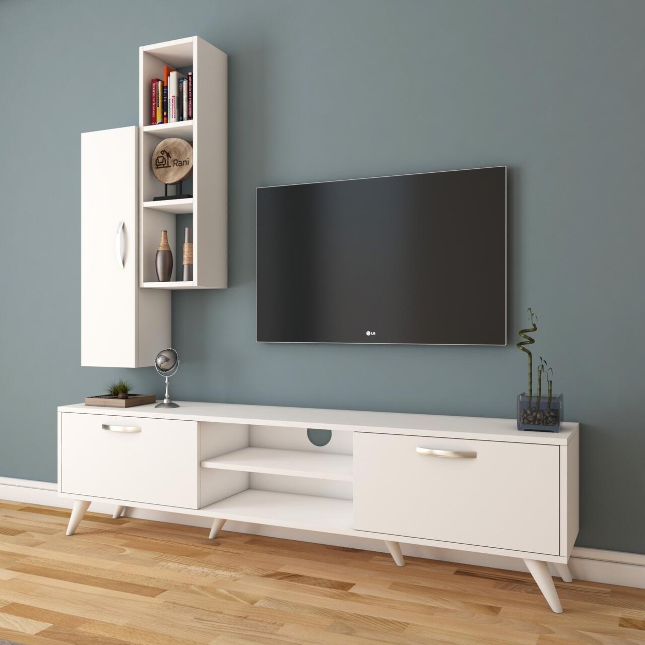 Comoda TV cu raft de perete si cabinet M1 - 228, Wren, 180 x 35 x 48.6 cm/90 cm, white