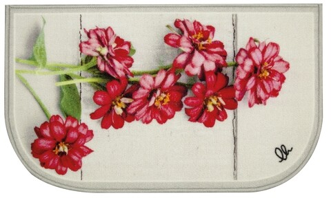 Covor pentru bucatarie, Olivio Tappeti, California Mezzaluna Digital 2, Red Flowers, 44 x 75 cm, nylon, multicolor