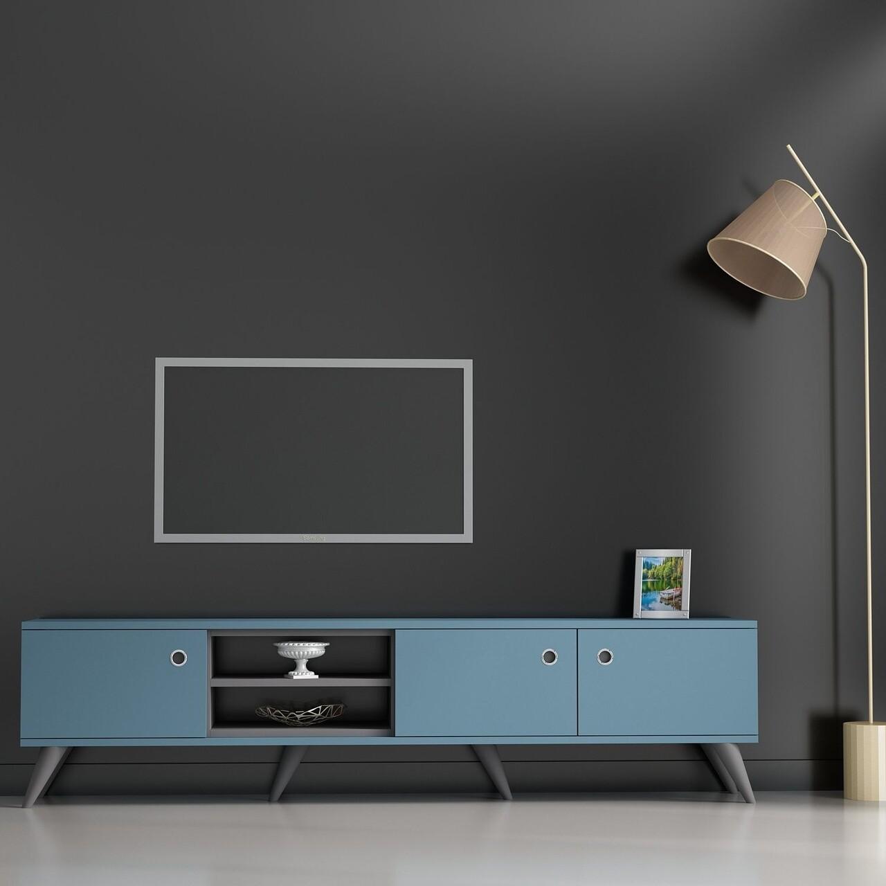 Comoda TV AMATA, Gauge Concept, 180x45 cm, PAL, antracit/albastru