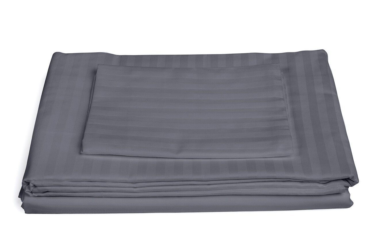 Lenjerie de pat, 2 persoane, 100% Bumbac egiptean, 4 piese, gri