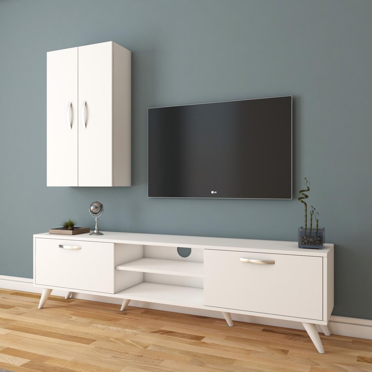 Comoda TV cu 2 cabinete M18 - 265, Wren, 180 x 35 x 48.6 cm/90 cm, white