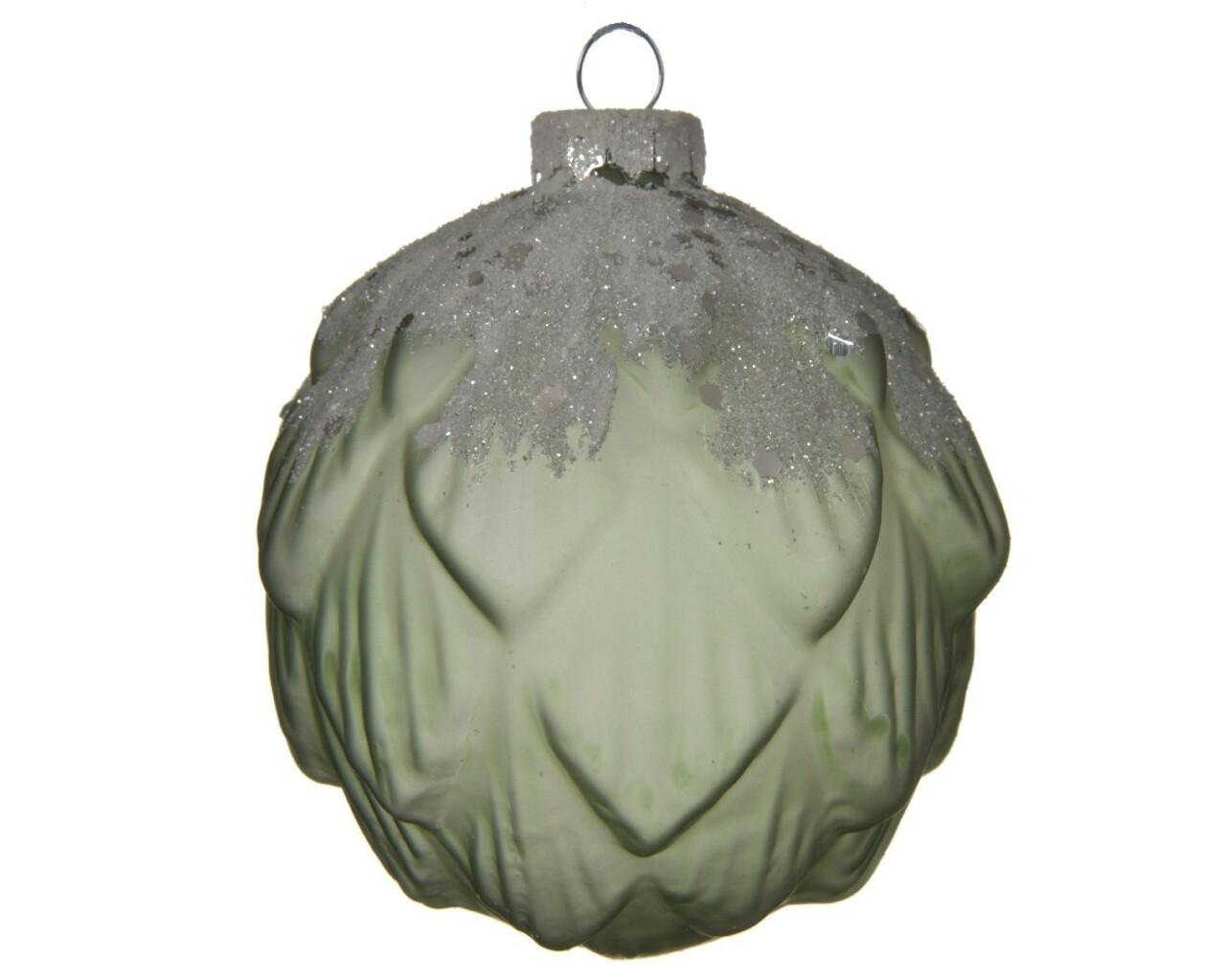 Set 3 globuri, Decoris, Pinecone Colourflow, Ø8 cm, sticla, verde