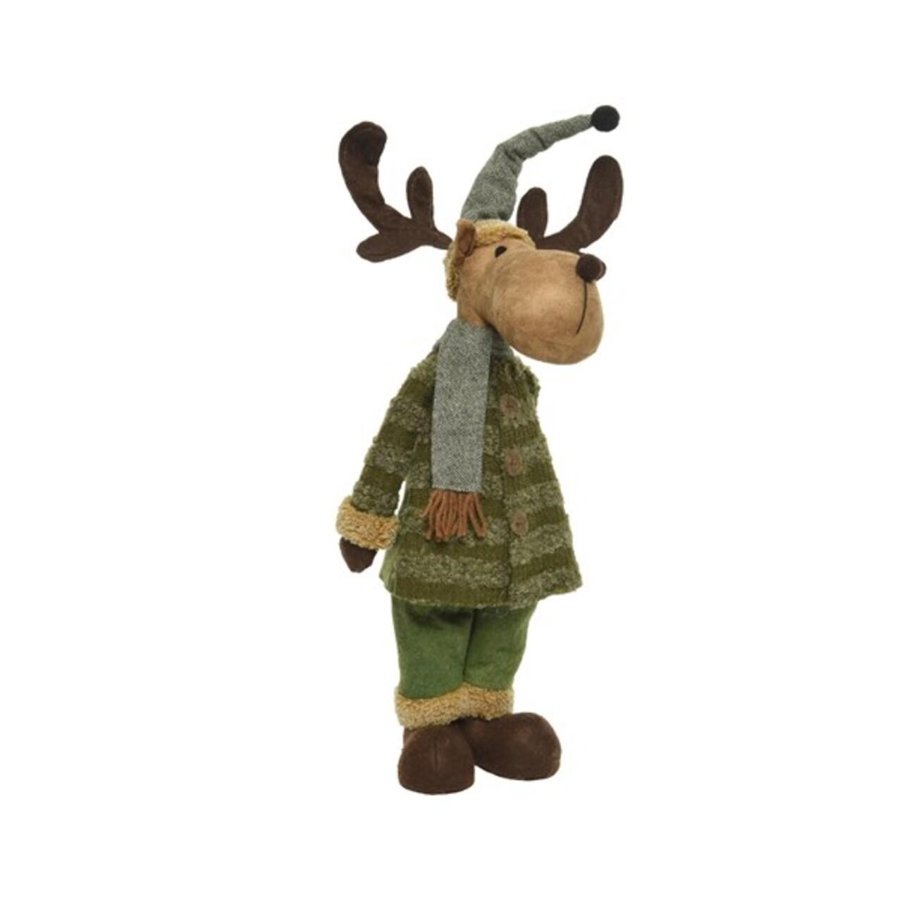 Decoratiune Deer w hat w scarf, Decoris, 16x29x67 cm, poliester, maro/verde