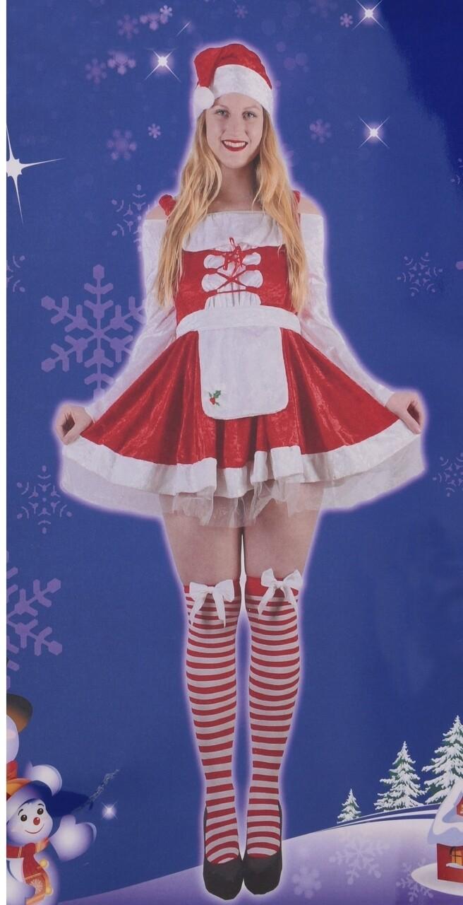 Costum de Craciunita, 4 piese, poliester, rosu/alb