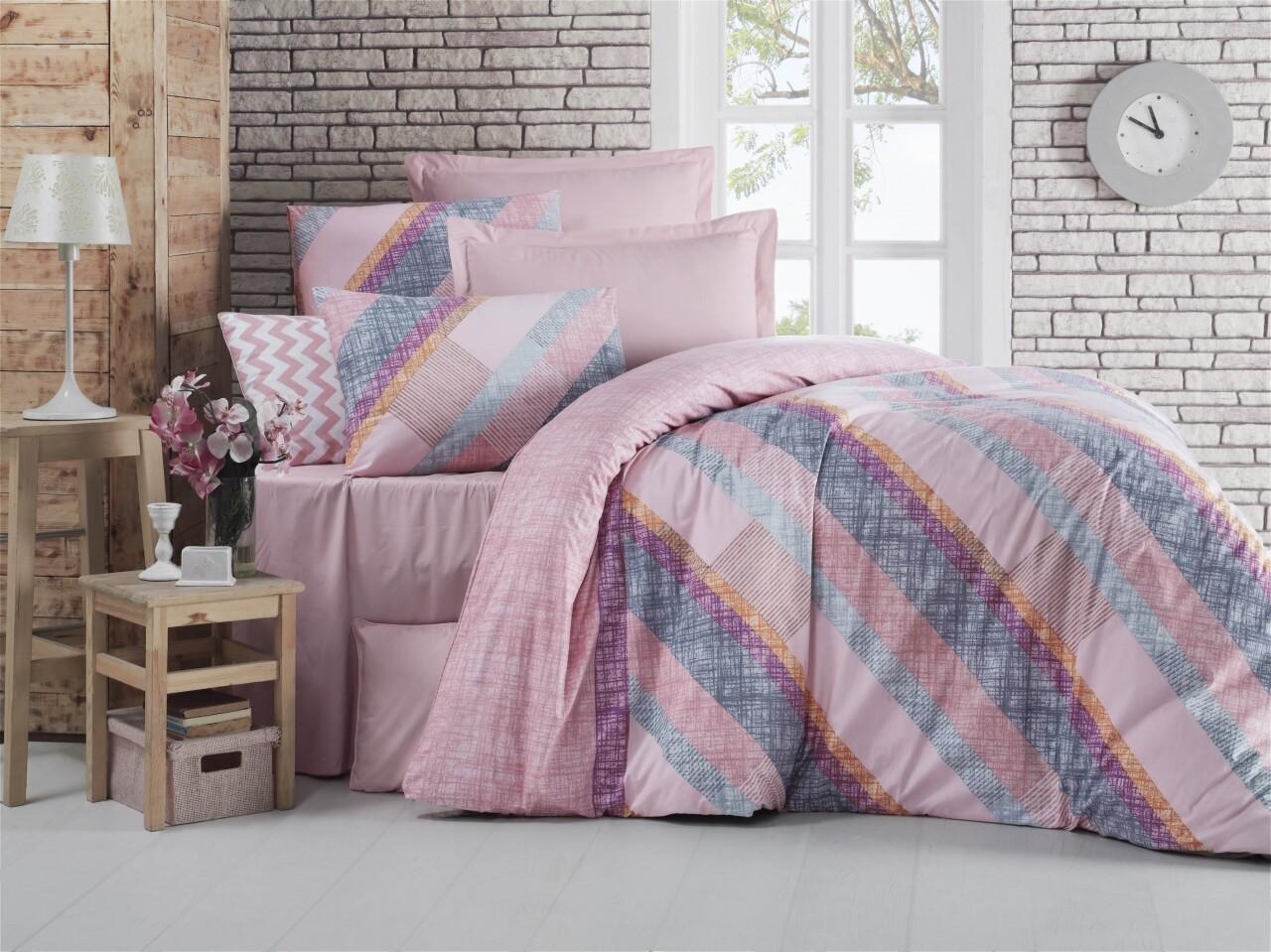 Lenjerie de pat pentru doua persoane, Jeu Bedora, 100%  bumbac, 6 piese