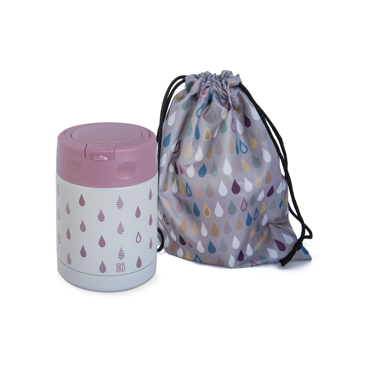 Termos mancare copii + geanta depozitare Drops, Iris Barcelona, 350 ml, pereti dubli, inox, roz