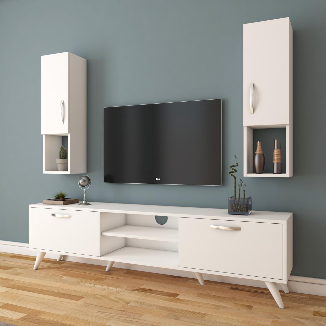 Comoda TV cu 2 cabinete M28 - 285, Wren, 180 x 35 x 48.6 cm/90 cm, white