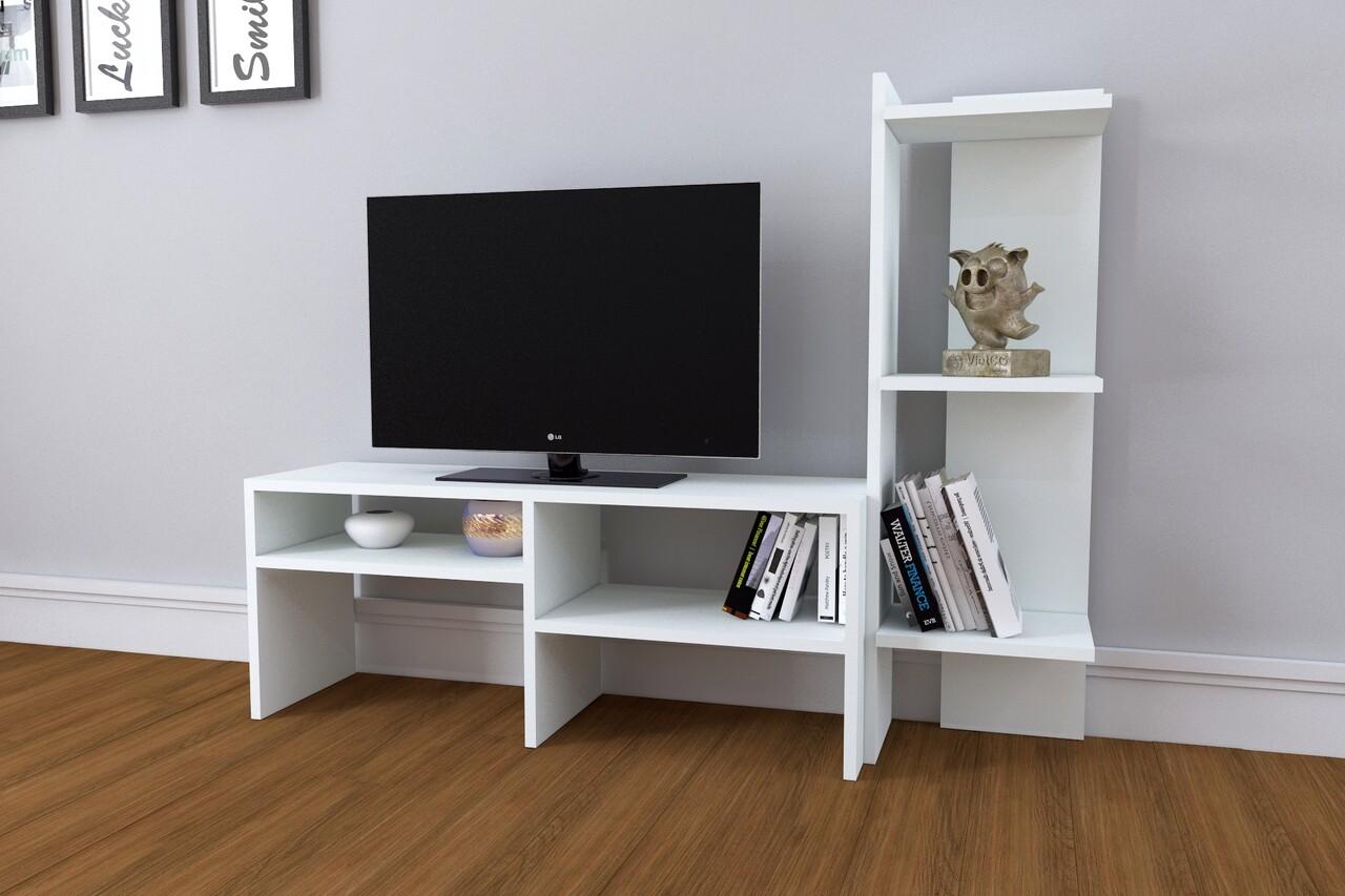 Mobilier living Raffline, 2 corpuri, 136.8x29.5x100 cm, PAL , alb