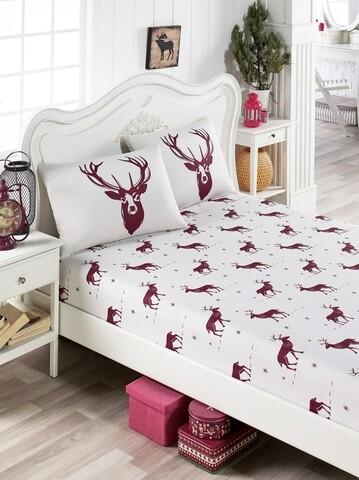 Set cearsaf pat cu elastic si 2 fete de perna, EnLora Home, Geyik, policoton, alb/rosu