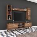 Comoda TV cu 2 rafturi de perete si cabinet M9 - 248, Wren, 180 x 35 x 48.6 cm/90 cm/133 cm, walnut