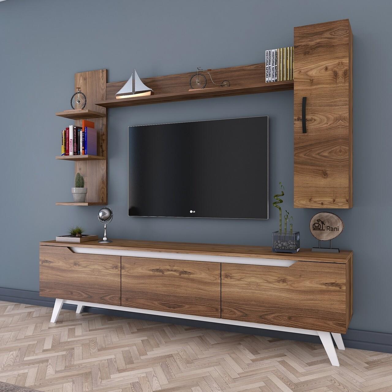 Comoda TV cu 2 rafturi de perete si cabinet M20 - 841, Wren, 180 x 35 x 48.6 cm/90 cm/133 cm, walnut/white