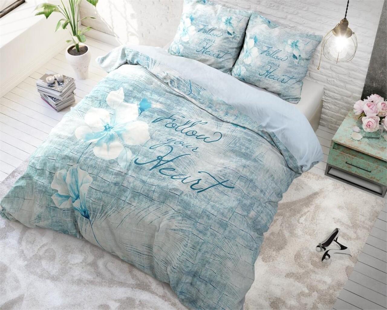 Lenjerie de pat dubla Pure Blossom 2 Turquoise, Sleeptime, 3 piese, 100% bumbac