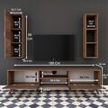Comoda TV cu raft de perete si cabinet M14 - 258, Wren, 180 x 35 x 48.6 cm/90 cm, walnut