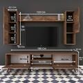 Comoda TV cu raft de perete si 2 cabinete M22 - 274, Wren, 180 x 35 x 48.6 cm/90 cm/133 cm, walnut