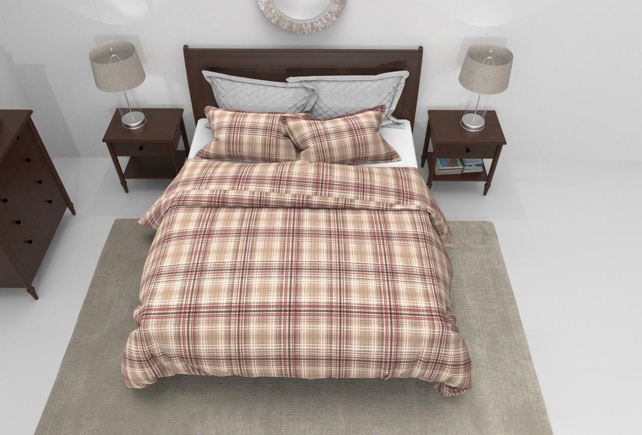 Lenjerie de pat pentru doua persoane Melange Brun Bedora, Cotton Rich