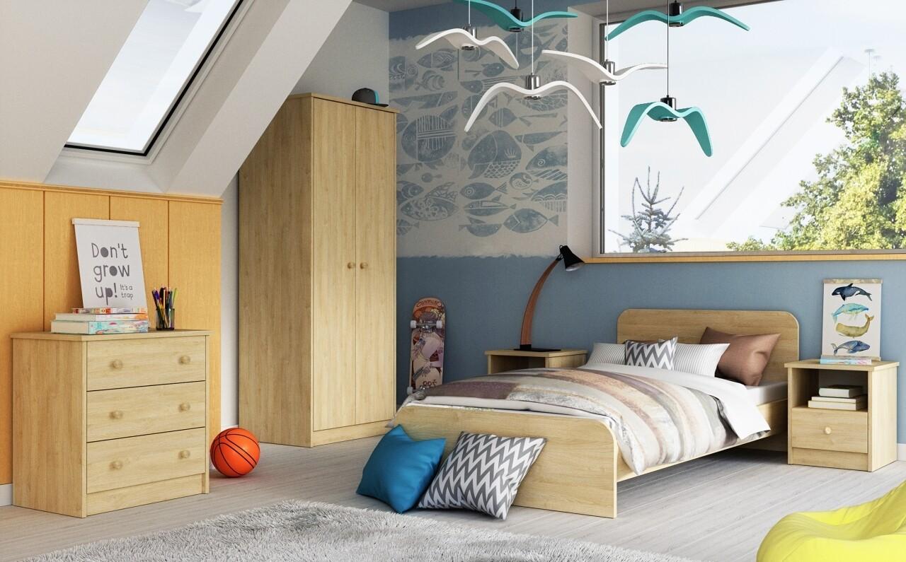Mobilier Dormitor Luka Natur, Bedora, 1 pat, 1 dulap,1 comoda, 2 noptiere