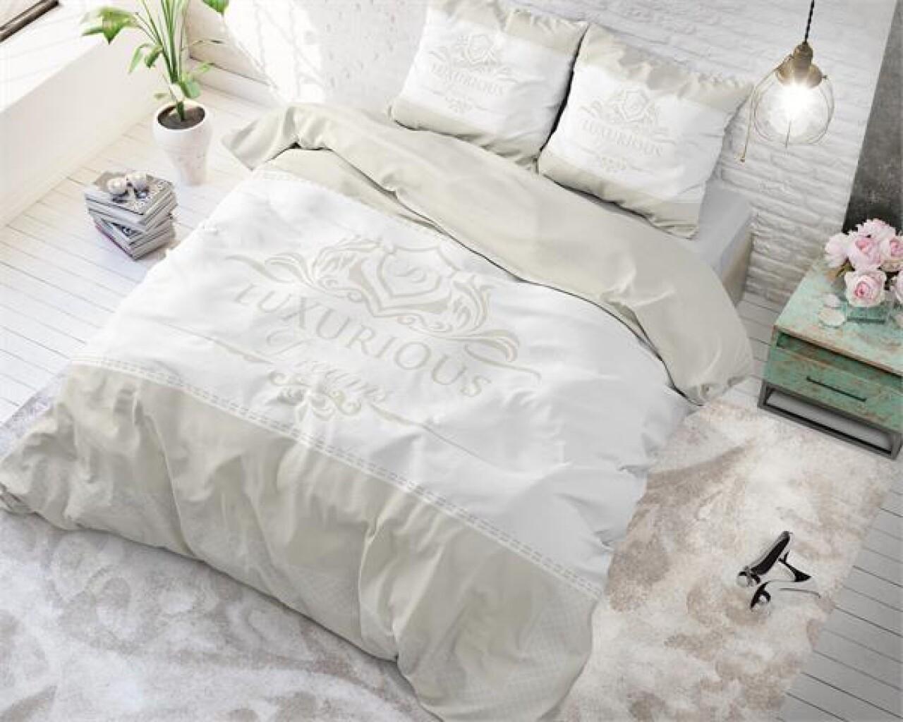 Lenjerie de pat pentru doua persoane Luxurious Cream, Royal Textile,100% bumbac