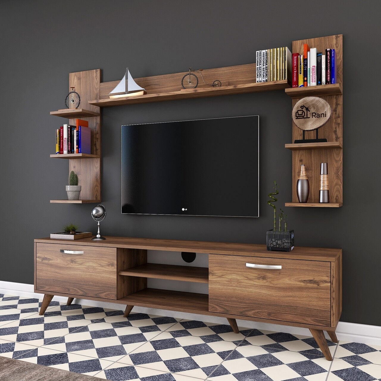 Comoda TV cu 3 rafturi de perete M23 - 276, Wren, 180 x 35 x 48.6 cm/90 cm/133 cm, walnut