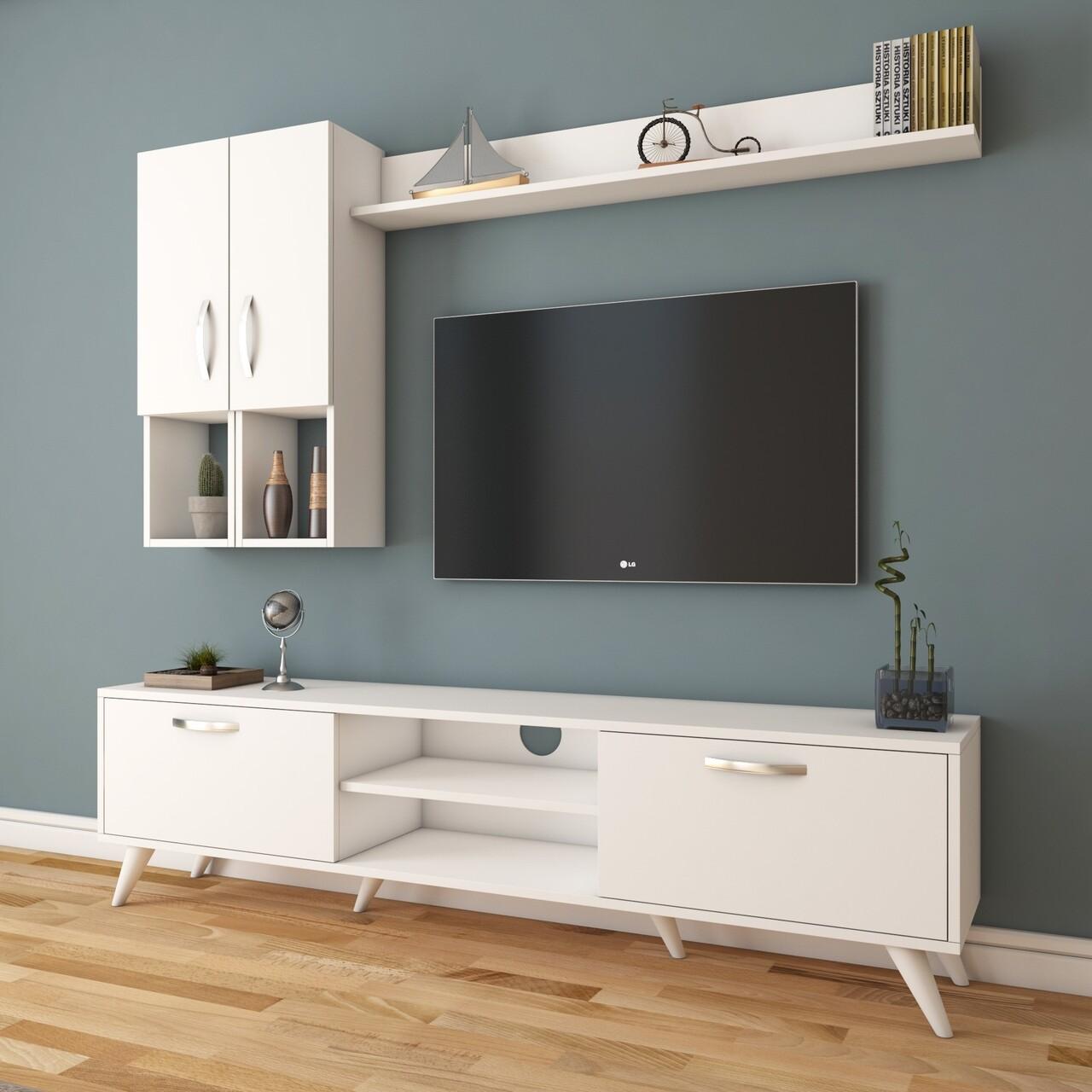 Comoda TV cu raft de perete si 2 cabinete M35 - 297, Wren, 180 x 35 x 48.6 cm/133 cm, white