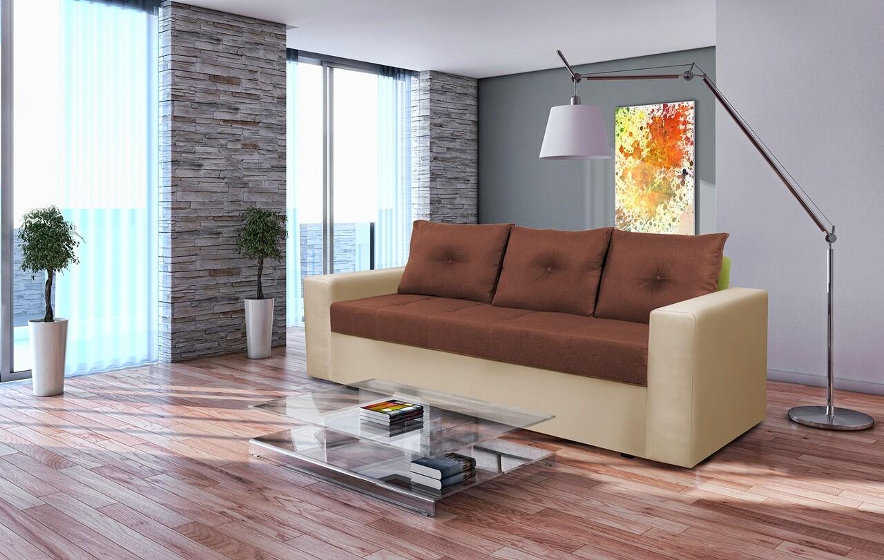 Canapea extensibila, Toledo, 226x90x86 cm, lada de depozitare, Crem/Maro
