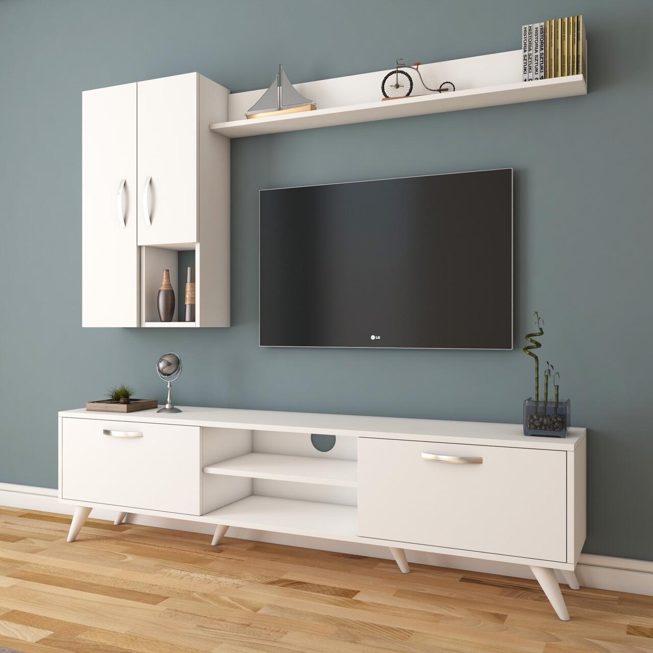 Comoda TV cu raft de perete si 2 cabinete M34 - 295, Wren, 180 x 35 x 48.6 cm/90 cm/133 cm, white