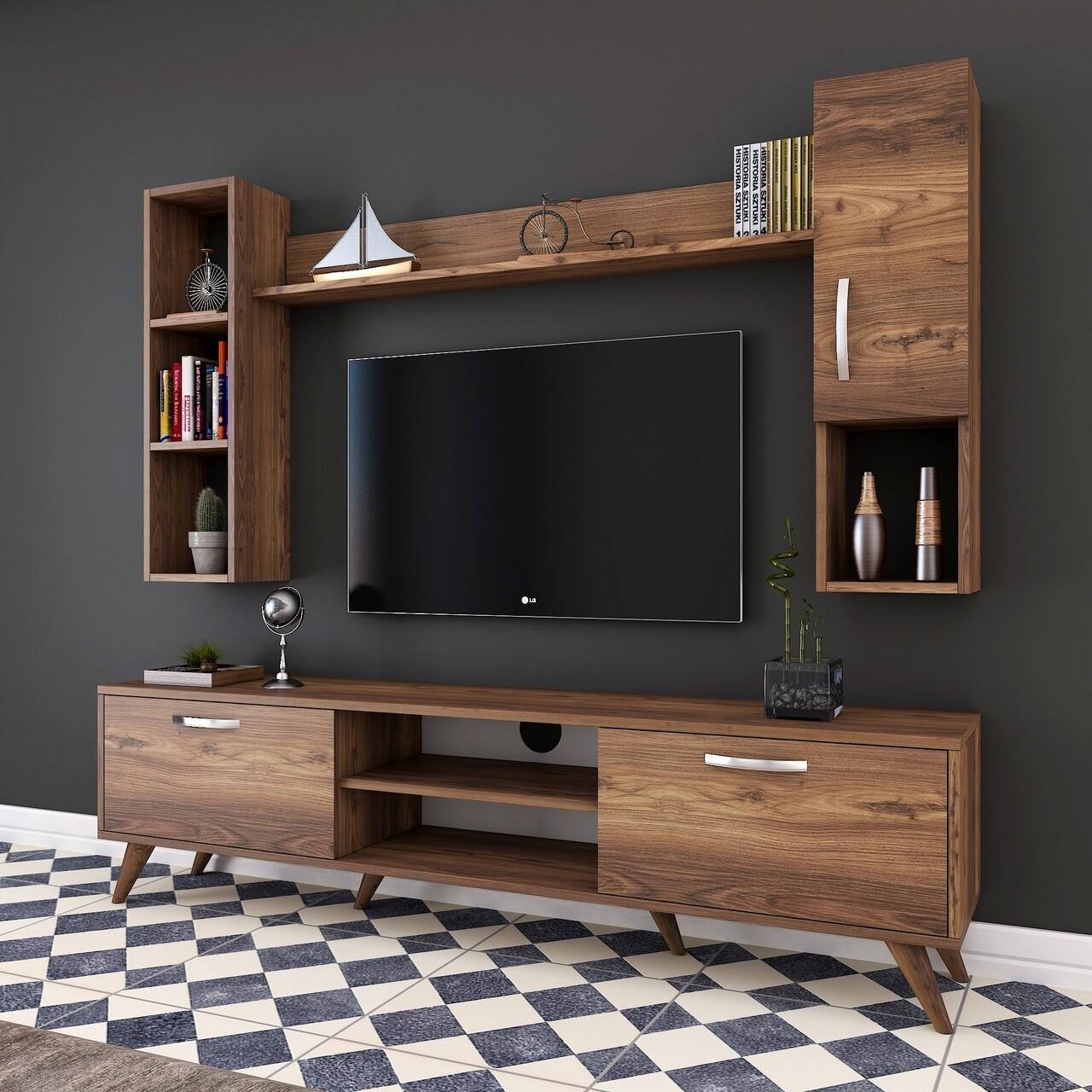 Comoda TV cu 2 rafturi de perete si cabinet M12 - 254, Wren, 180 x 35 x 48.6 cm/90 cm/133 cm, walnut