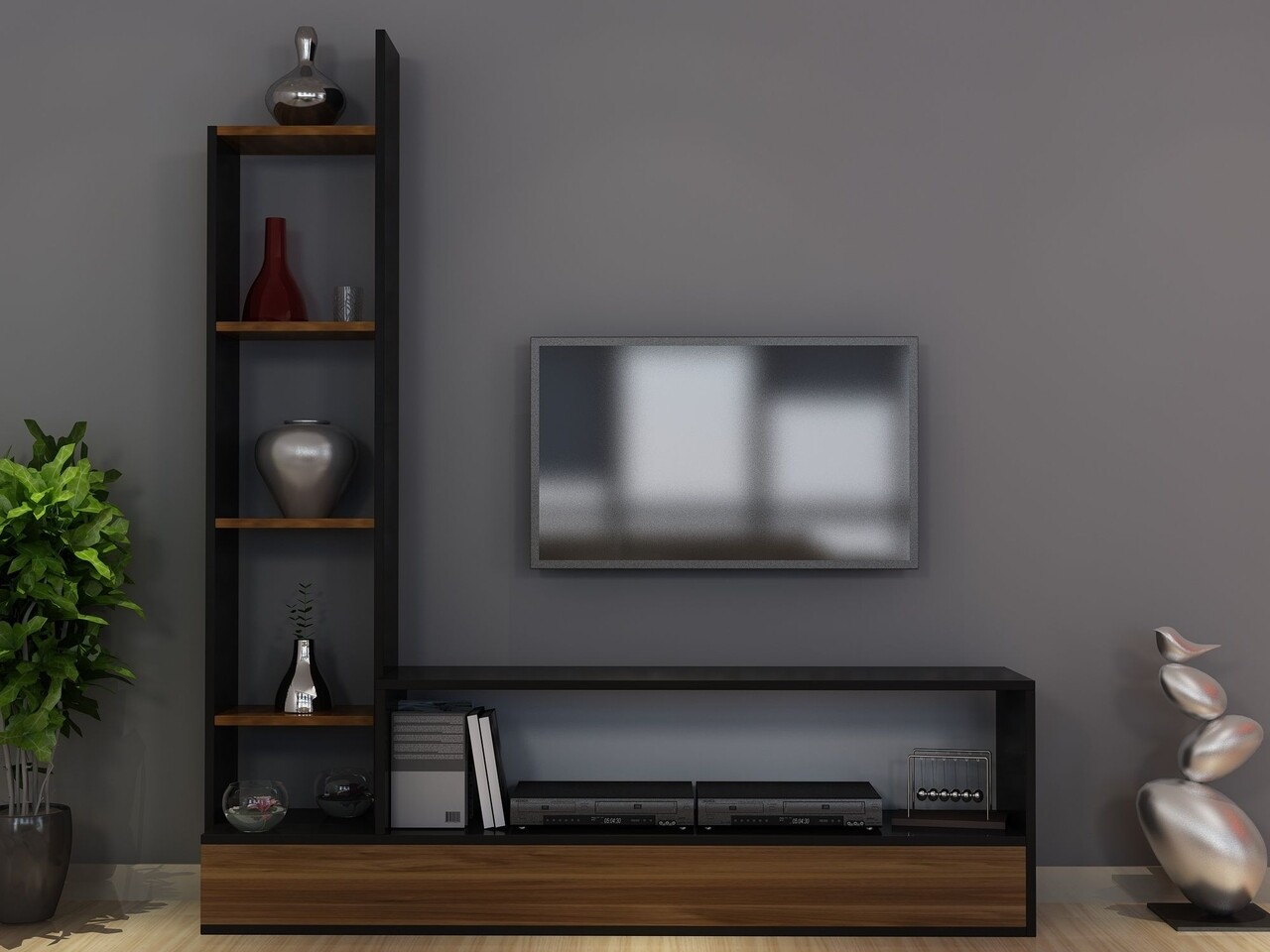 Comoda TV AKEL, Gauge Concept, 152x30x169 cm, PAL, aluna/negru