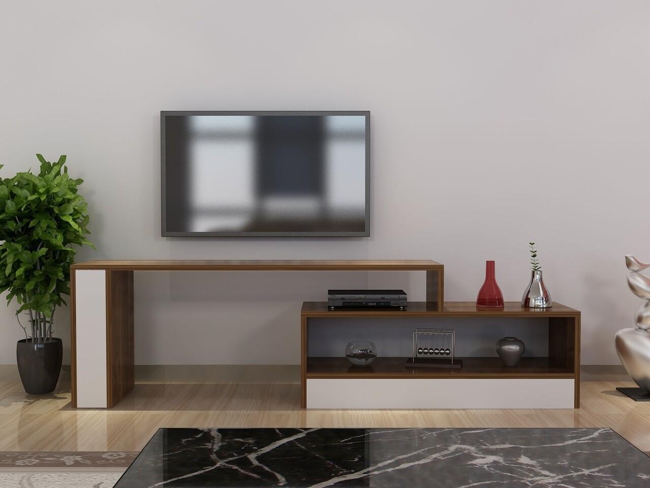 Comoda TV DUS, Gauge Concept, 165x30x45 cm, PAL, alb/aluna
