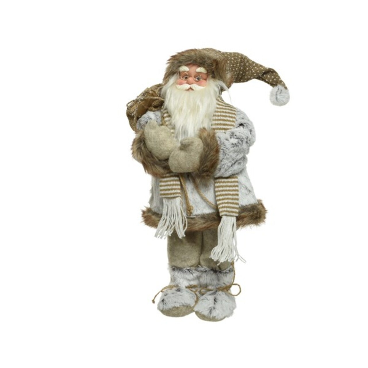 Decoratiune Santa w scarf, Decoris, H30 cm, poliester, maro