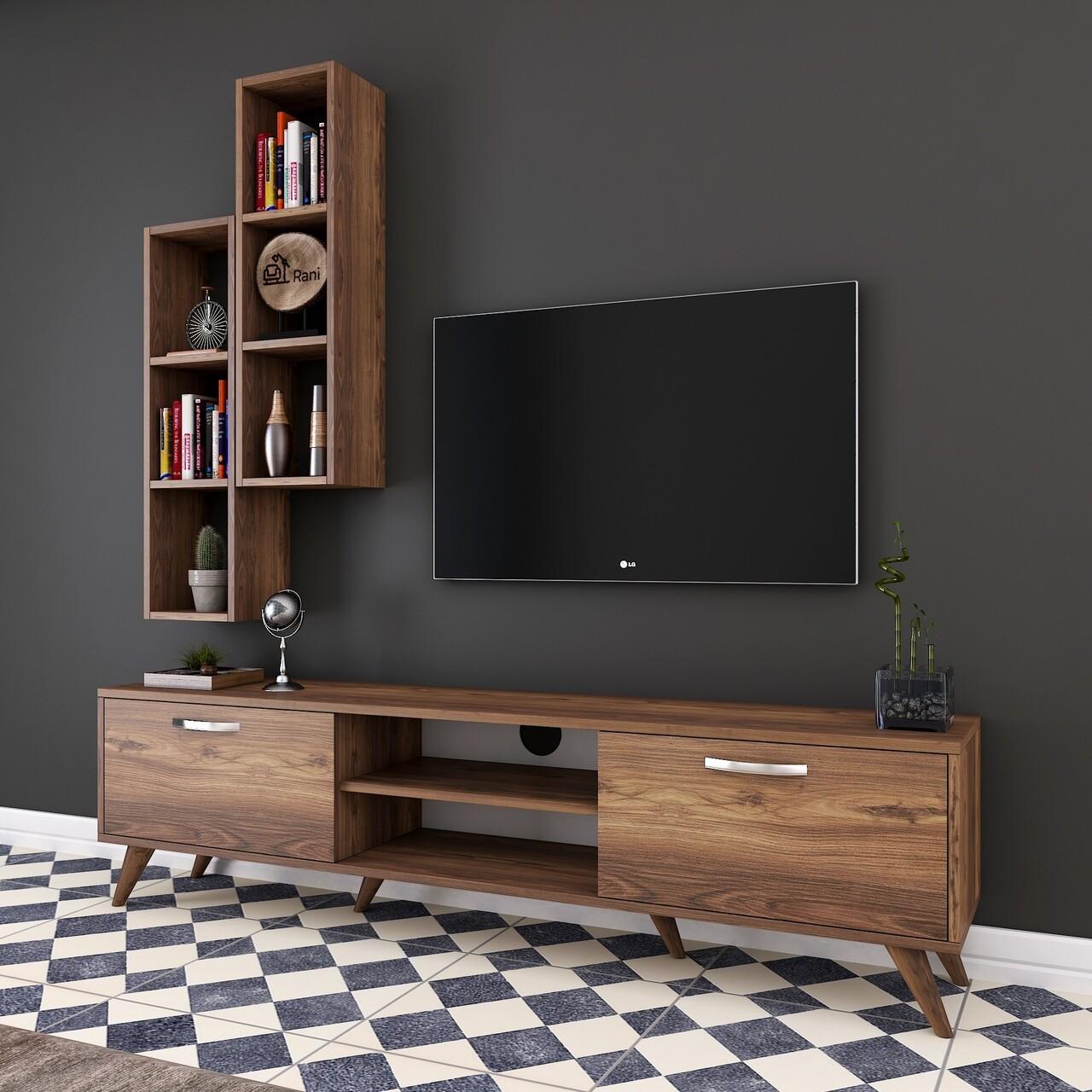 Comoda TV cu 2 rafturi de perete M15 - 260, Wren, 180 x 35 x 48.6 cm/90 cm, walnut