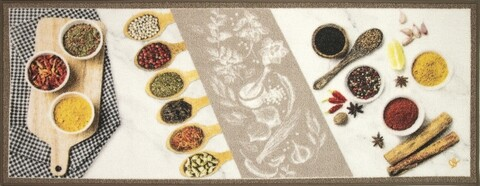 Covor pentru bucatarie, Olivio Tappeti, New Smile Modern, White Spice, 57 x 240 cm, nylon, multicolor