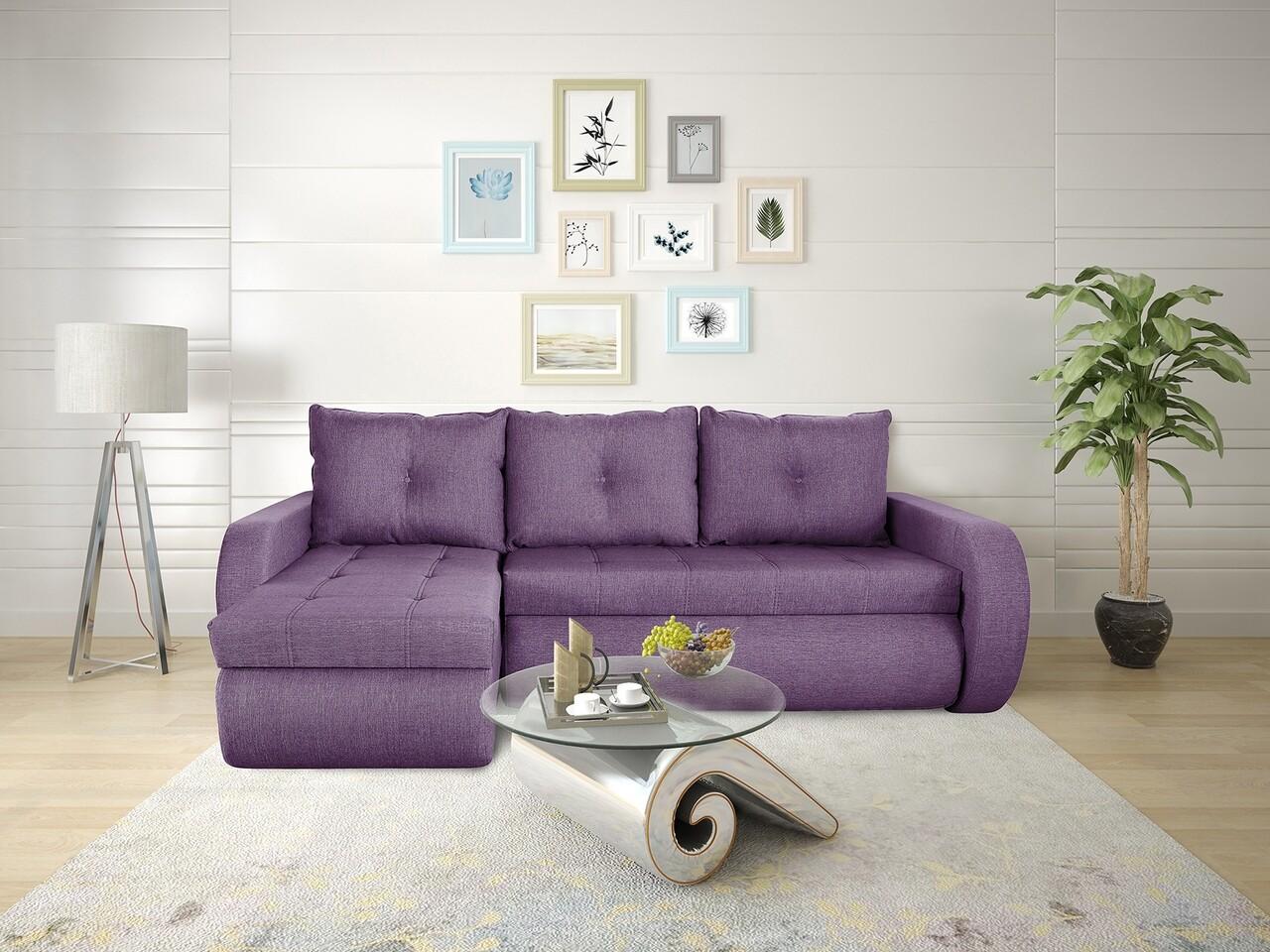 Coltar extensibil Genoa Lux Purple 243x141x81 cm cu lada de depozitare