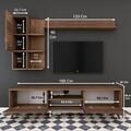 Comoda TV cu 2 rafturi de perete si cabinet M33 - 294, Wren, 180 x 35 x 48.6 cm/90 cm/133 cm, walnut