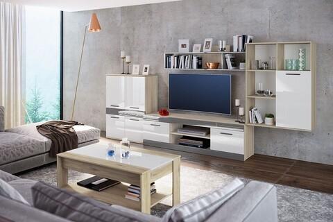Mobilier living, Bedora, City 9039, 320 x 40 x 153 cm, PAL, sonoma/alb