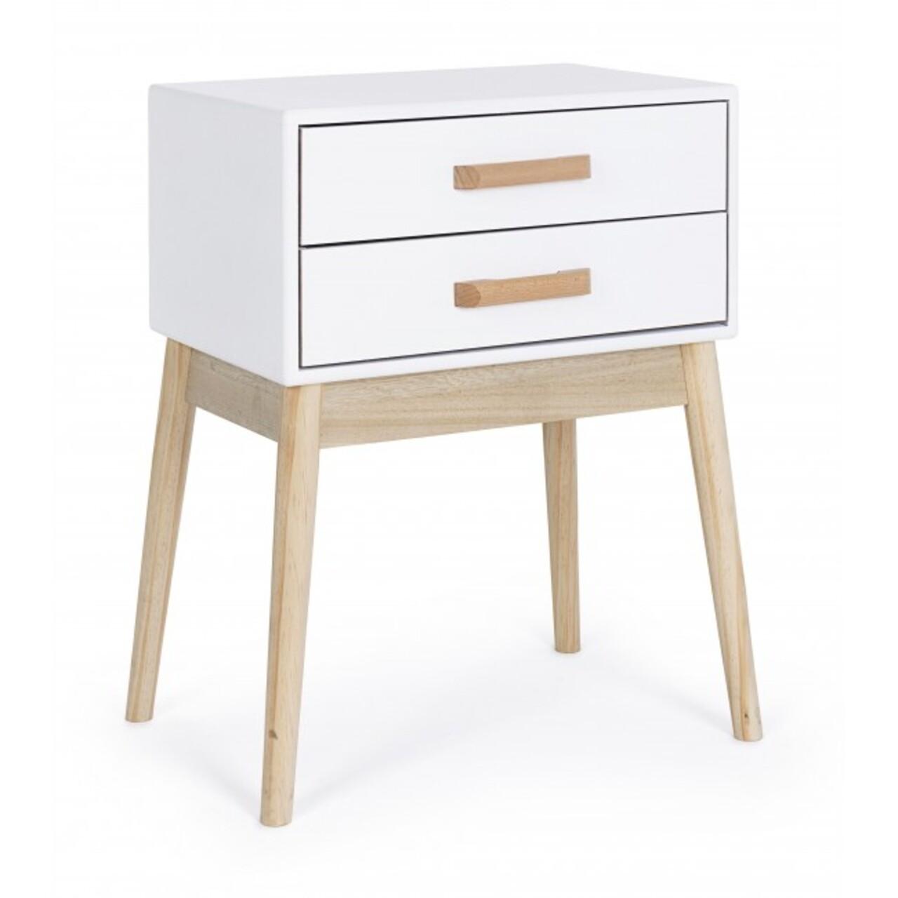 Comoda cu 2 sertare, Ordinary, Bizzotto, 43x30x58 cm, lemn de pin/lemn de paulownia