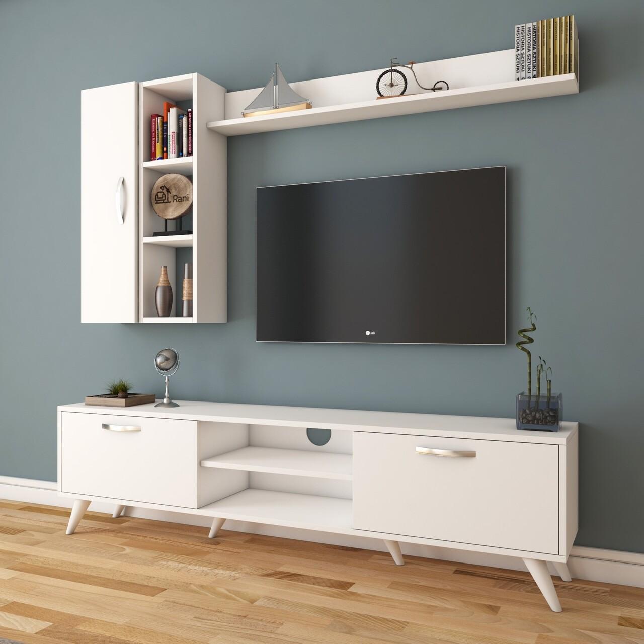 Comoda TV cu 2 rafturi de perete si cabinet M45 - 318, Wren, 180 x 35 x 48.6 cm/90 cm/133 cm, white