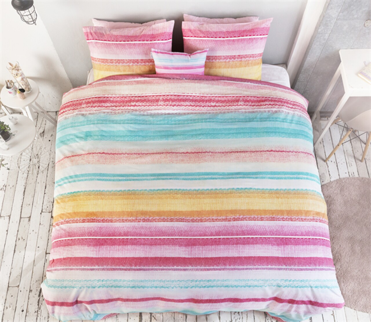 Lenjerie de pat pentru doua persoane Kimli Multi , Royal Textile, 100% bumbac