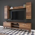 Comoda TV cu raft de perete si 2 cabinete M2 - 229, Wren, 180 x 35 x 48.6 cm/133 cm, walnut