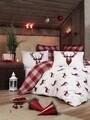 Lenjerie de pat pentru doua persoane, Eponj Home, Geyik, 4 piese, policoton, rosu/alb