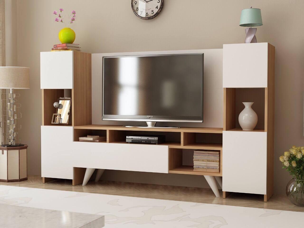 Comoda TV ONR92, Gauge Concept, 180x30x120 cm, PAL, tec/alb