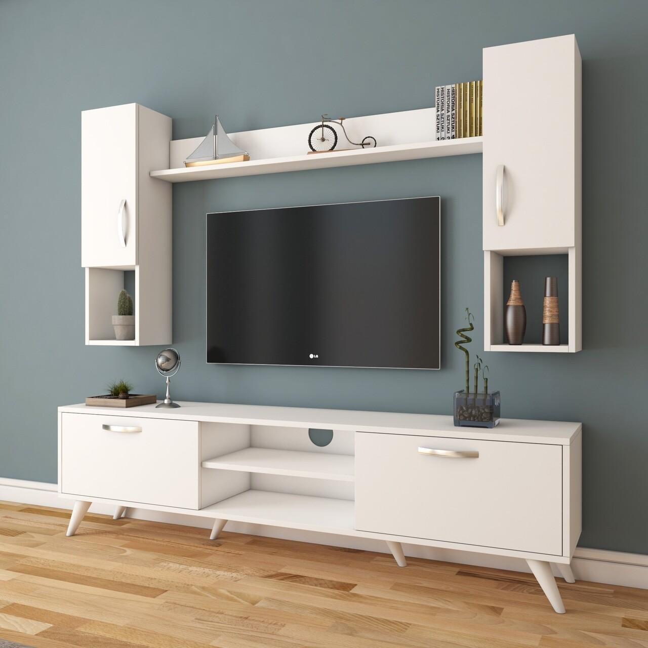 Comoda TV cu raft de perete si 2 cabinete M27 - 283, Wren, 180 x 35 x 48.6 cm/133 cm, white